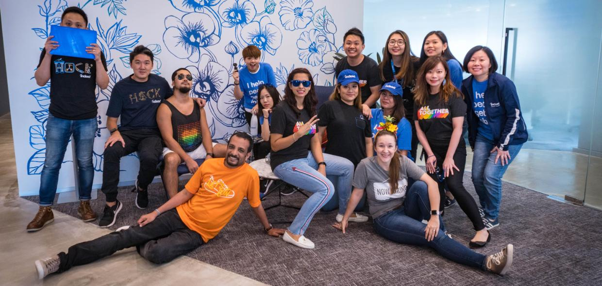 Indeedians pose in Singapore office