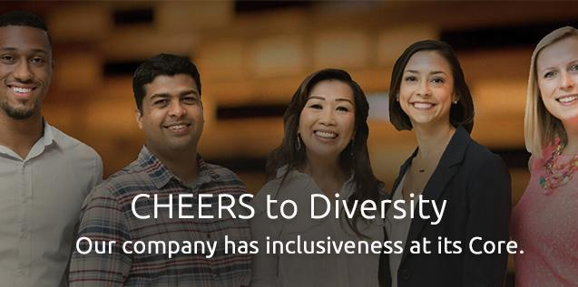 """Group photo with diverse men and woman from various ethnicities- """"CHEERS to Diversity"""""""