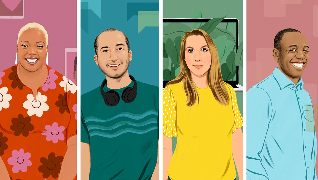 Colorful illustrations of four people.