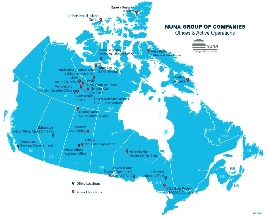 Map of Canada indicating project and office locations