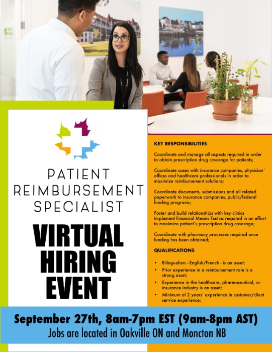 Online Hiring Event for Patient Reimbursement Specialist for Oakville ON and Moncton NB