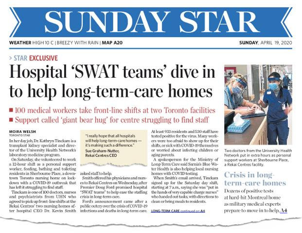 Hospital SWAT Teams Dive in to help Long-Term-Care Homes