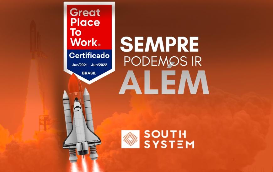 """Imagem de foguete sobreposta ao certificado do GPTW, com o texto na lateral """"Sempre podemos ir além"""""""