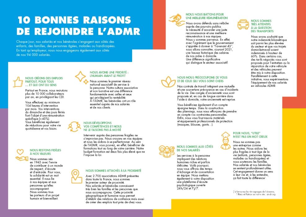 L'ADMR recrute chaque année 10 000 collaborateurs partout en France. Découvrez les 10 bonnes raisons