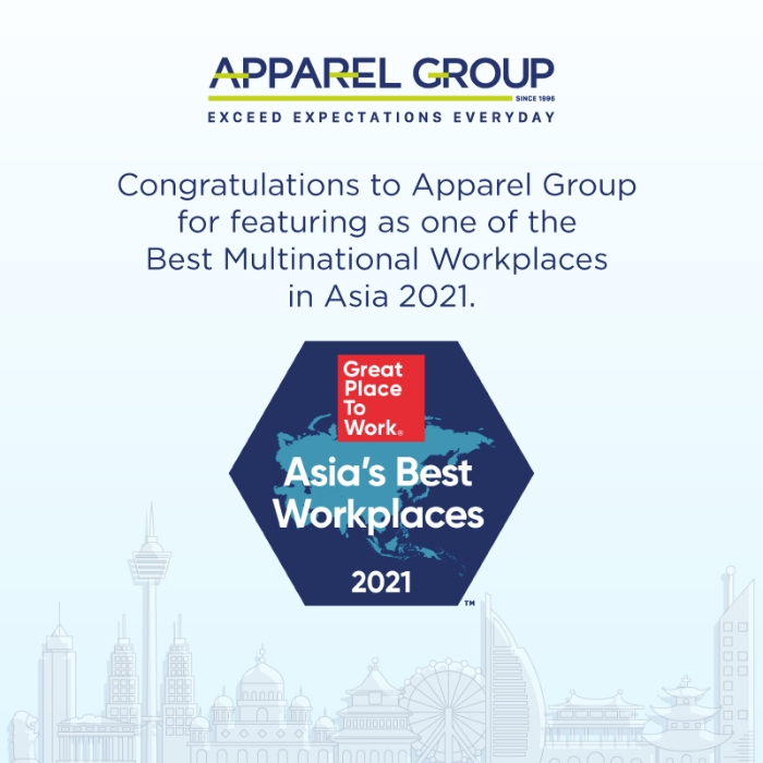 Great Place to Work ranks Apparel Group 19th best MNC to work for in Asia in the year 2021 .
