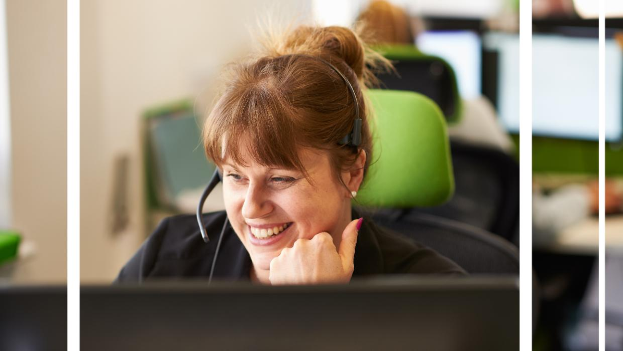 Woman answering customer service call on a headset