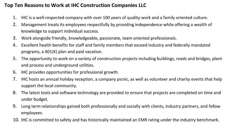 IHC Construction Companies LLC Mission, Benefits, and Work