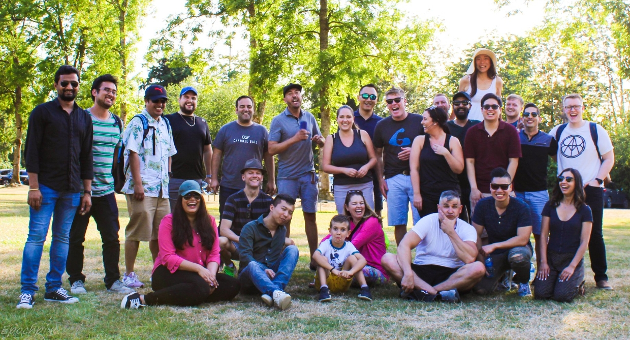 Image of team in the park during the team barbeque