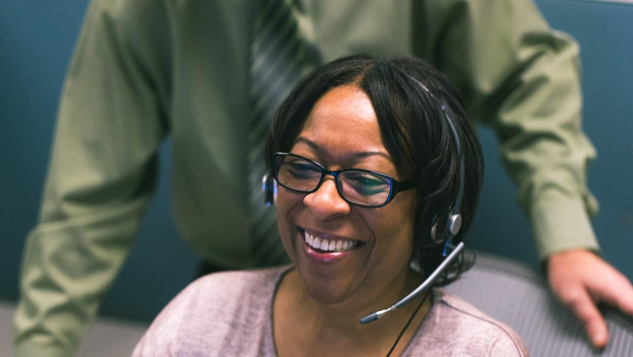 Woman working at Call Center.