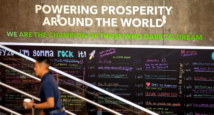 Powering Prosperity Around the World sign at Intuit Headquarters