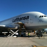 Huntleigh USA photo: On the ramp touring the new aircraft A 380 Airbus