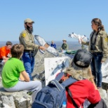 Hawk Mountain Sanctuary photo: International trainees teach raptor identification to visitors gathered at the North Lookout.