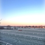A frosty view from our balcony backing on to Sandown Racecourse