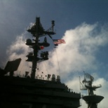 Taken from the flight deck showing the flag and the helicopter I flew in (MH60-S)