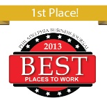 First Place Winner in The Philadelphia Business Journal's 2013 Best Places to Work Awards