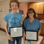 Staff and residents honor the CNA team. Mary Lyons has been working there for 46 years!