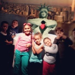 NYJTL photo: My kids posing in front of their favorite piece in the whole exhibit