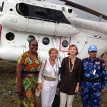With Karinn Landgre/SRSG, Margaret and UN police...heading to Rivercess and Grand Bassa, July 2015