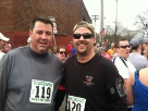 (Scott on left) Doyle's 5 miles road race in April 2012 with brother Ed.