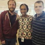 co-workers taking time for a quick pic (Adam, Lia, Carp)