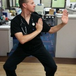 Dr. Eric Hopkins at Cook Children's Grapevine Pediatrics displays his Shaolin Wu-Yi Kung Fu moves.