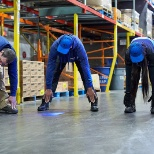 Stretches before working in the warehouse -- safety is key!