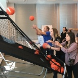 March Madness at Informatica means basket-shooting competition in the main cafeteria at HQ