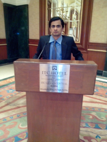 Giving speech on market research