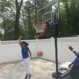 Shooting hoops on the patio at 60 West in Rocky Hill as part of National Nursing Home Week.