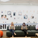 A communal workspace in Shutterfly's Santa Clara office.