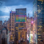 New York City skyline lit up for 2019 World Pride