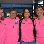 Stopping for a photo at the Pink Power Ride event