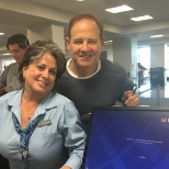 Me & Coach Les Miles. He's a regular passenger out of our station.
