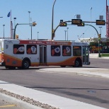 A city bus pulling out of the Medicine Hat Mall terminal