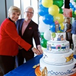 Mayor Betsy Price and Alex Smith at Pier 1 Imports 50th anniversary celebration