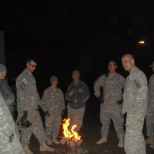 on the fob trying to stay warm while waiting for the convoy