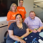 Voya Financial photo: making blankets for hospitals is a FUN way to enjoy co-workers in a different way!