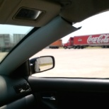 """Coca Cola Refreshments"" truck, entering check-in."
