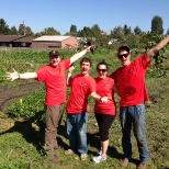 I organized the company volunteer day to work on a local farm. Over 20 of my co-workers showed up.