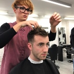 Training at London school of barbering
