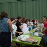 Spray painting t-shirts at an ice cream social!