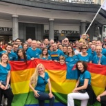 AXA colleagues walking in the Brussels Pride