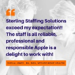 Sterling Staffing Solutions photo: Client Feedback