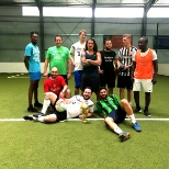 With my Amazon colleagues playing football at Olypiapark in Munich, Germany.