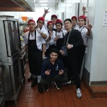 with kitchen staff