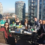 Sales Talent Agency celebrating on the patio above their office