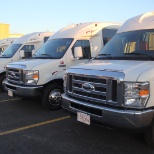 A few of our walk-on style shuttles. Our vehicles range from 7-25 passengers.