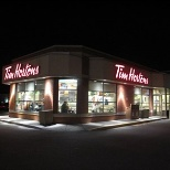 Tim Hortons photo: Outside on a winter evening