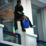 It's a bird! It's a plane! It's Batman cleaning the windows at Cook Children's!
