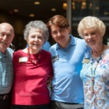 Residents and staff celebrate at Atria at the Arboretum's annual fall festival.